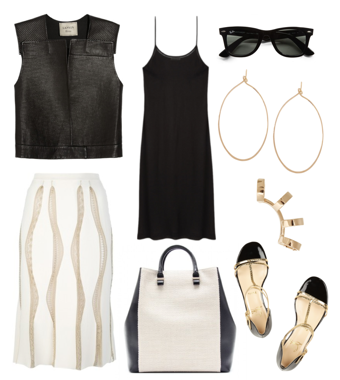 Wish outfit - Lanin leather vest, Blumarine skirt, Acne tank top, Victoria Beckham bag, Christian Louboutin sandals, Repossi earring, Ray-Ban Wayfarer and Brook Gregson