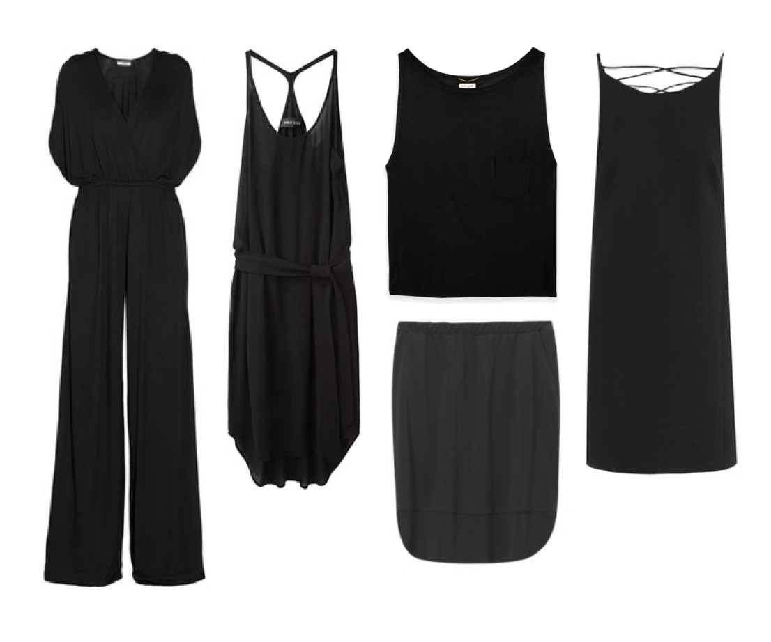 Black favorites - By Malene Birger jumpsuit, Versace dress, Damir Donna dress, Filippa K skirt and Saint Laurent tank