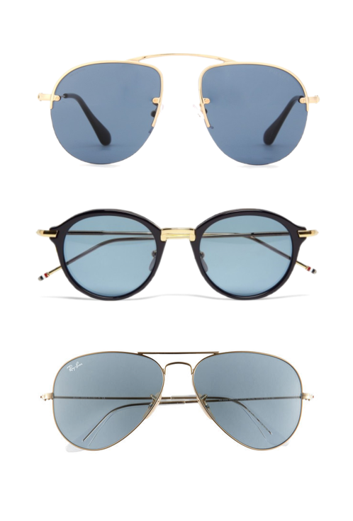 Blue shades - Prada aviators, Ray-Ban Pilot sunglasses and Thom Browne Dita