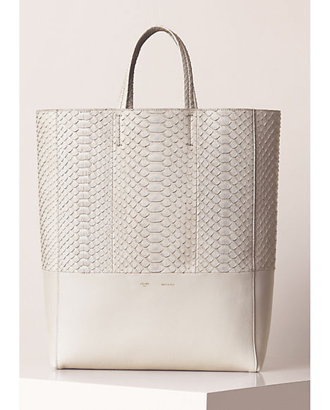 Céline Bi-Cabas in Python and lambskin pearl grey hand bag