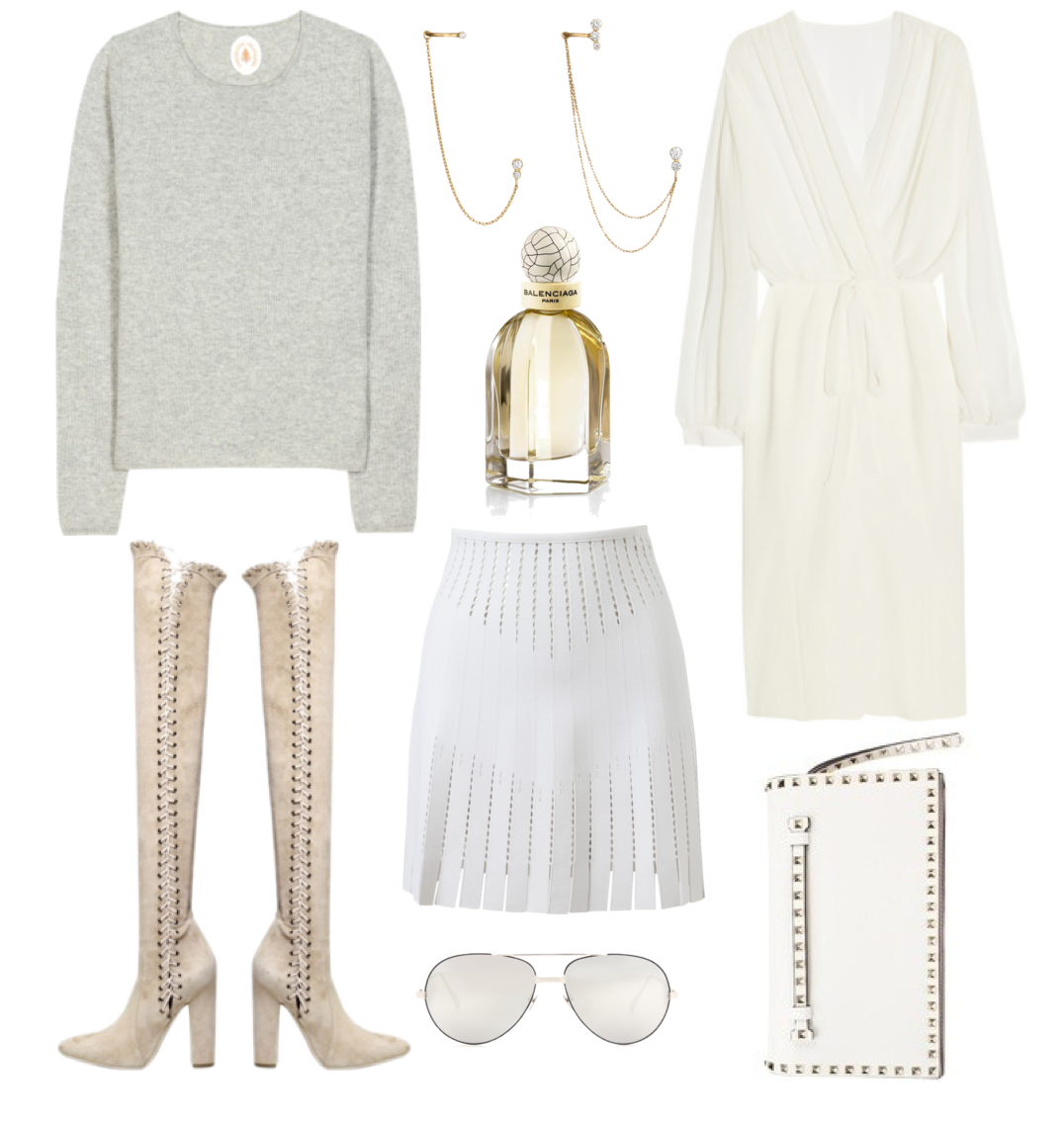 White spring closet - Valentino clutch, Linda Farrow glasses, Balenciaga perfume, Sophie Bille Brahe earrings, Alaïa skirt, Salvatore Ferragamo boots, L'Wren Scott dress and jardin des Orangers pullover