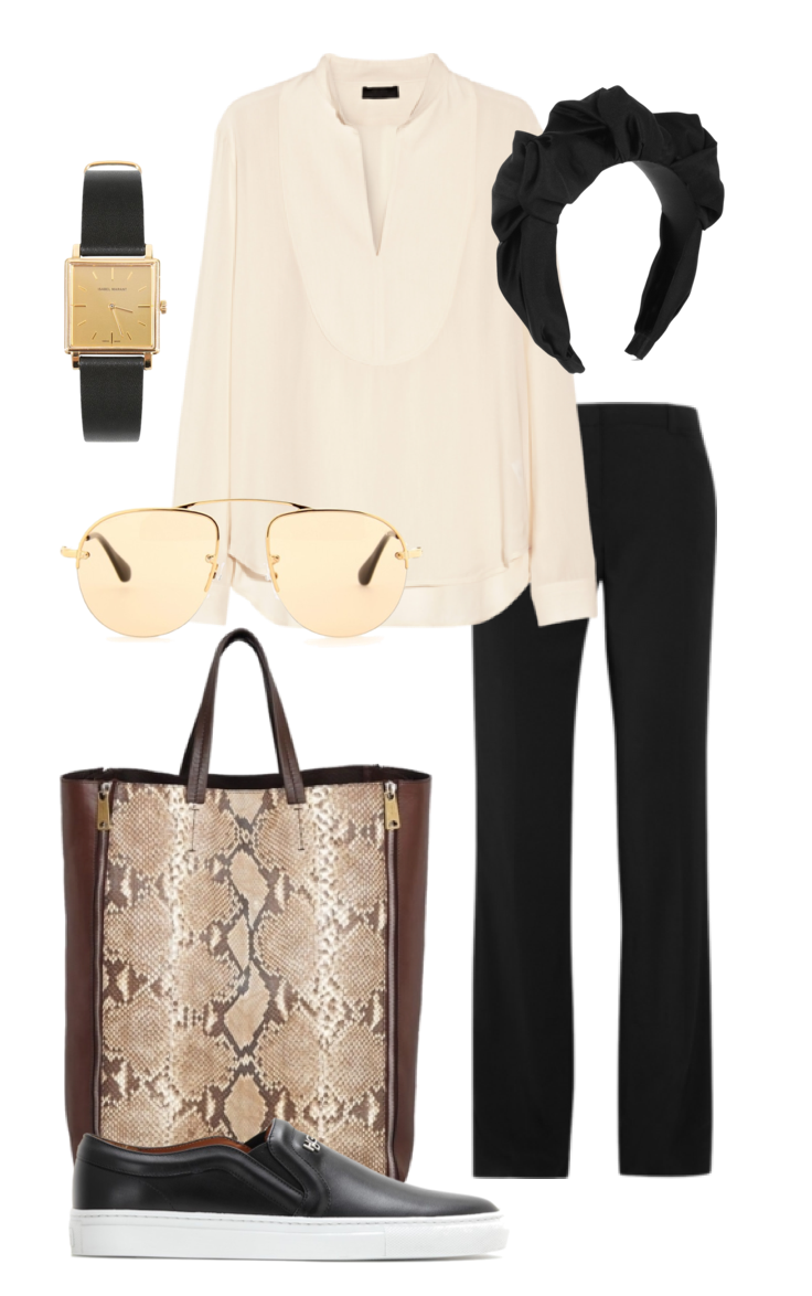 Wish Outfit - Jennifer Behr silk headband, Celine tote python shopper, Oscar de La Renta trousers, The Row top, Givenchy sneakers and Isabel Marant Watch