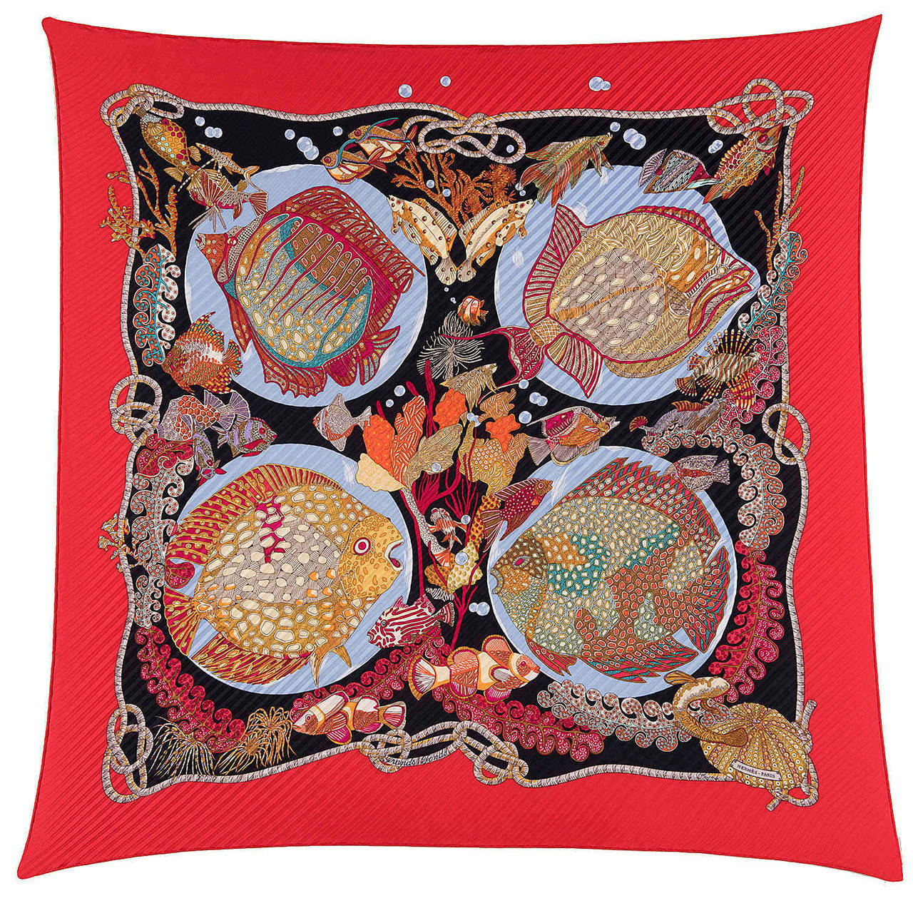 A Rare Hermes Pleated Silk Scarf 'Grand Fond' by Annie Faivre