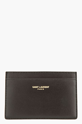 Saint Laurent black buffed Marquage card holder