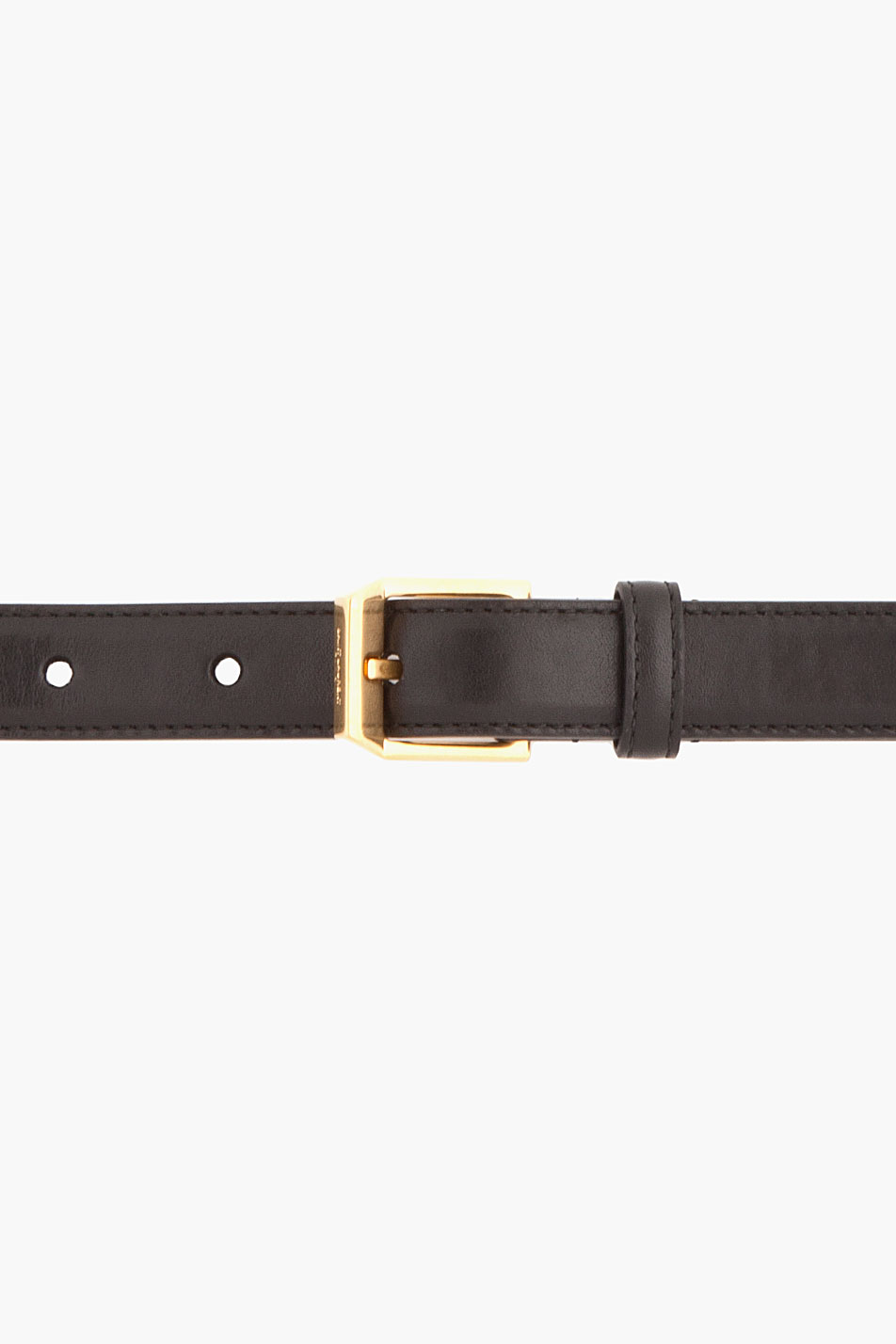 Saint Laurent black leather gold studded bolt belt