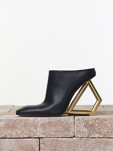 Céline Summer 2014 115 mm midnight calfskin traingle heel mule