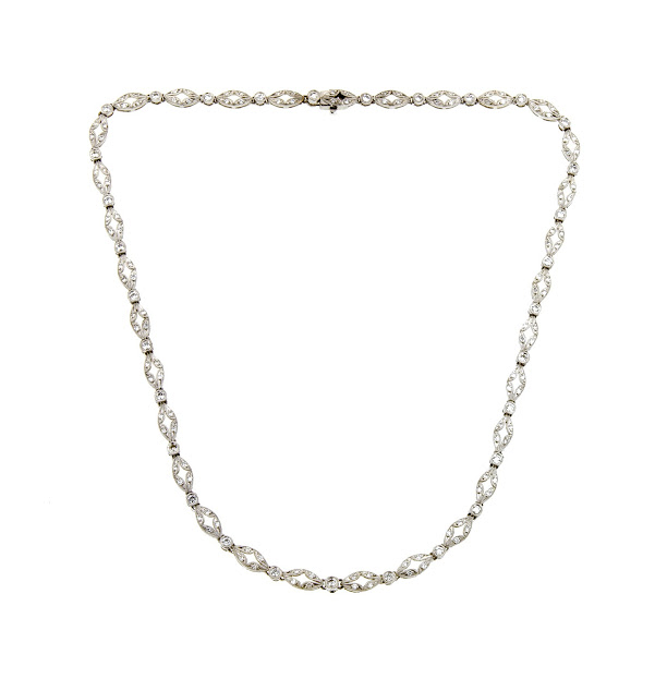 Diamond navette link necklace from DOYLE & DOYLE.